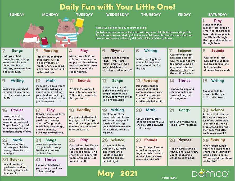 Demco Early Literacy Activity Calendar M