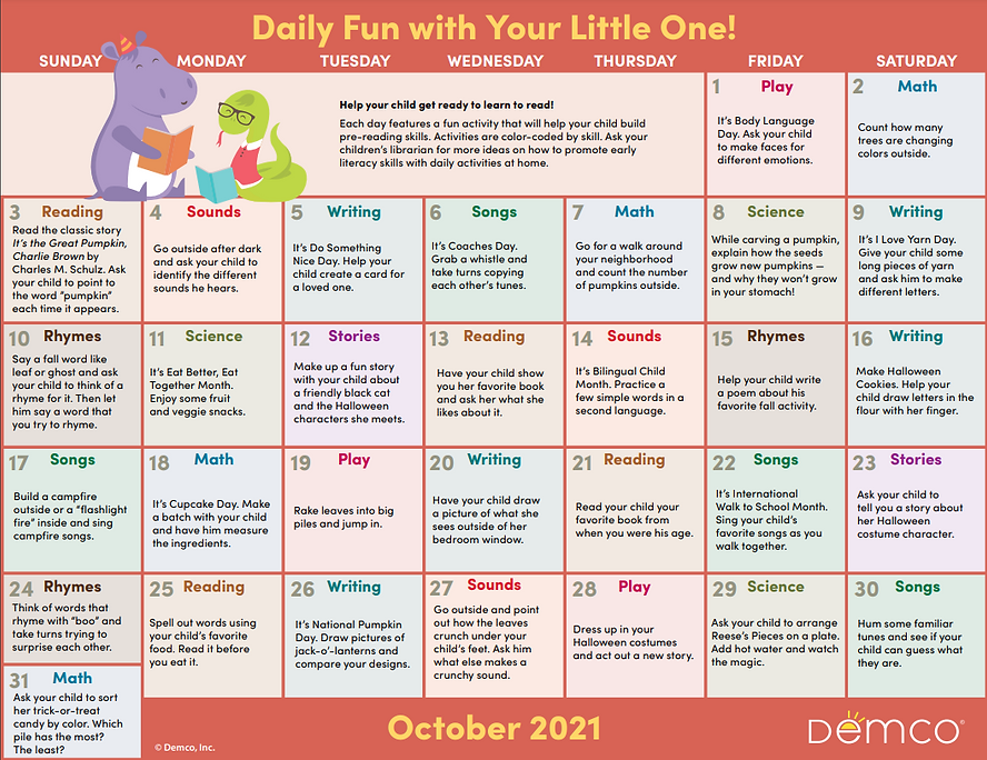 Demco Early Literacy Calendar October 2021.png
