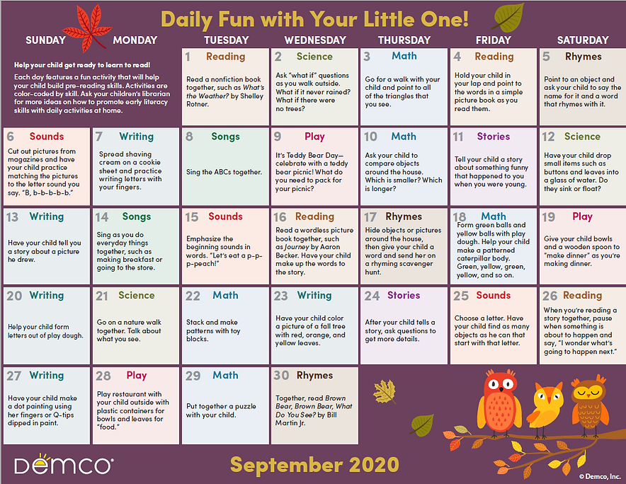 Demco Early Literacy Calendar September