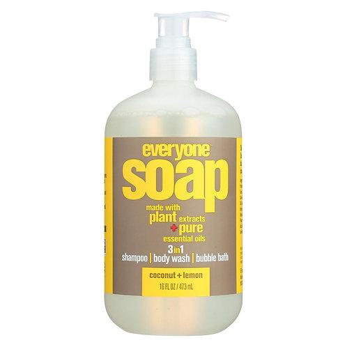 Everyone 3 in 1 Body Wash, Shampoo and Bubble Bath Coconut Lemon