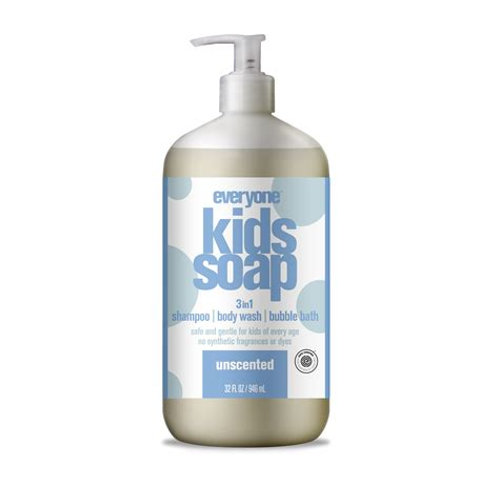 Everyone Kids 3 in 1 Shampoo, Bubble Bath and Body Wash Unscented