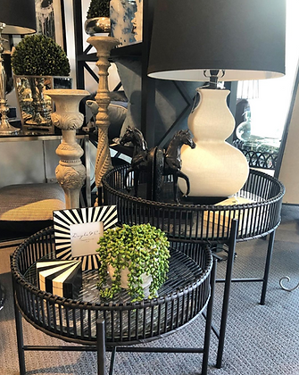 Black Cane Nesting Tables (with glass tops)