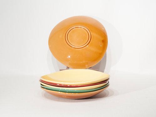 Lot de 6 assiettes colorées en céramique