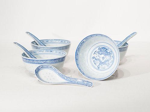 Service de soupe chinoise en porcelaine
