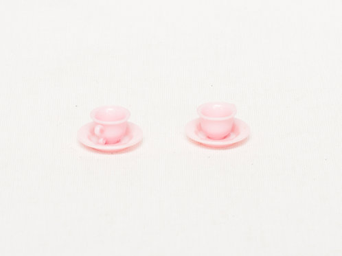 Tasses et soucoupes miniatures roses Mattel