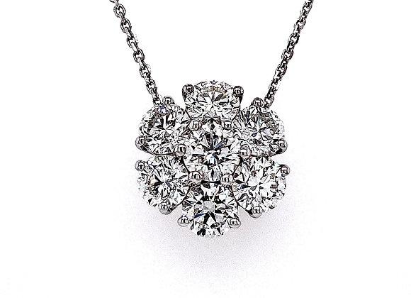 14kt White Gold 2.95ctw Round Diamond Cluster Pendant