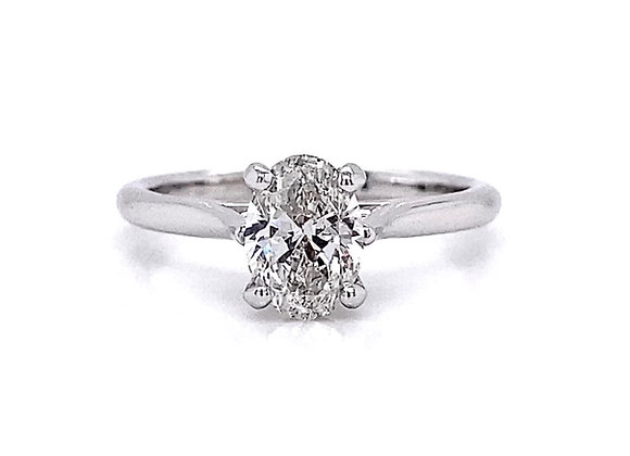 14kt White Gold 1.01ct Oval Cut Diamond Solitaire Ring