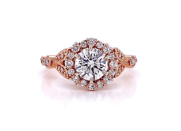 14kt Rose Gold 1.28ctw Round Diamond Side Stone Ring