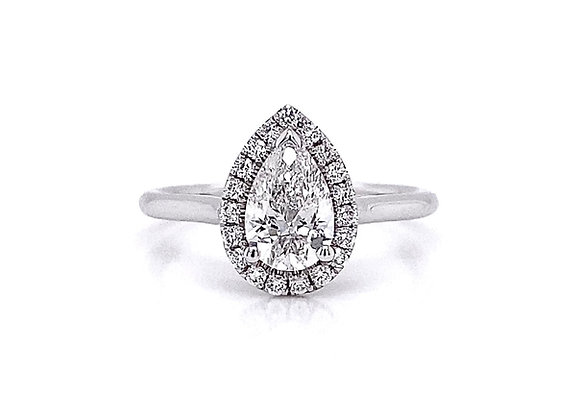 14kt White Gold 0.85ctw Pear Shape & Round Diamond Solitaire Halo Ring
