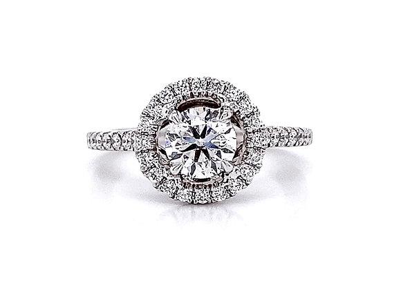 14kt White Gold 1.11ctw Round Diamond Halo Ring