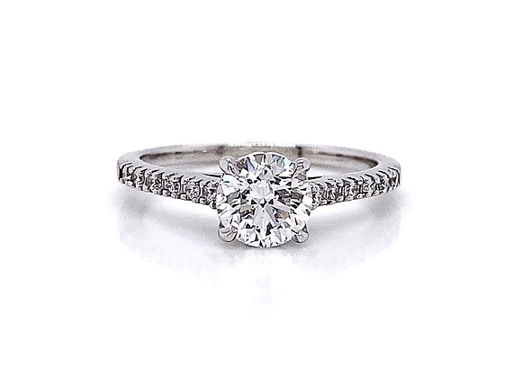 14kt White Gold 1.19ctw Round Diamond Side Stone Ring