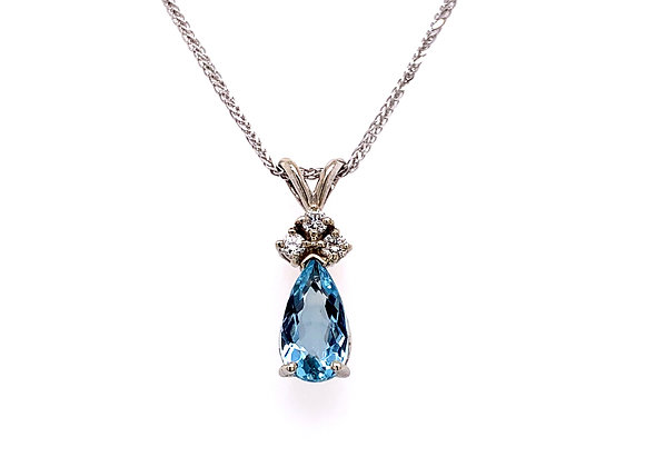 14kt White Gold Ladies 0.89ct Pear Shape Aquamarine and Diamond Gemstone Pendant