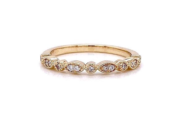 14kt Yellow Gold 0.09ctw Round Diamond Band