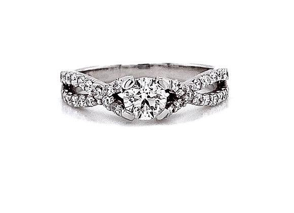 14kt White Gold 0.90ctw Round Diamond Side Stone Ring