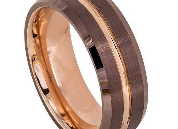 Rose Tungsten Brown Gents Band With Brushed Accents