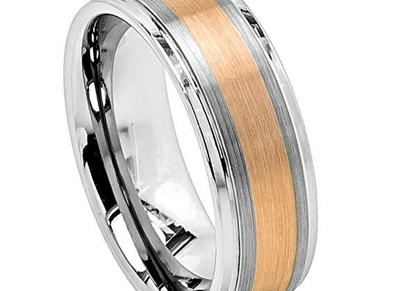 Gray Tungsten Gents Band With Copper & Brushed Accents