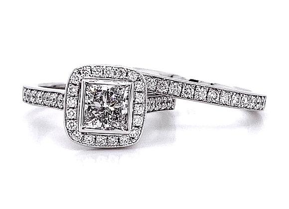 18kt White Gold 1.77ctw Princess Cut & Round Diamond Halo Wedding Set