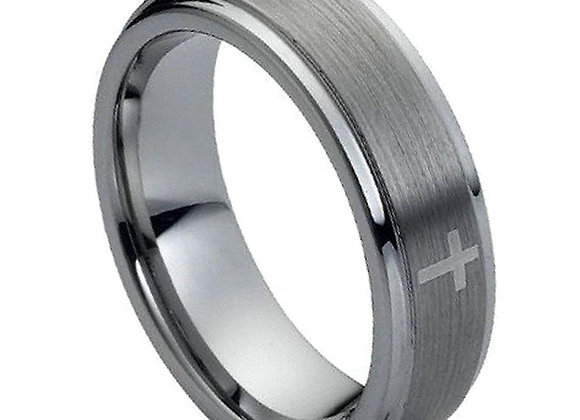 Gray Tungsten Gents Band With Brushed Accent