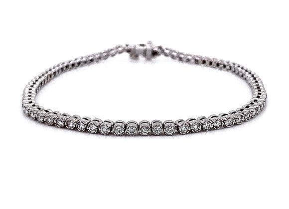 14kt White Gold 1.17ctw Round Diamond Tennis Bracelet