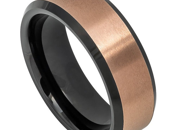 Rose & Black Tungsten Gents Band With Brushed Accents