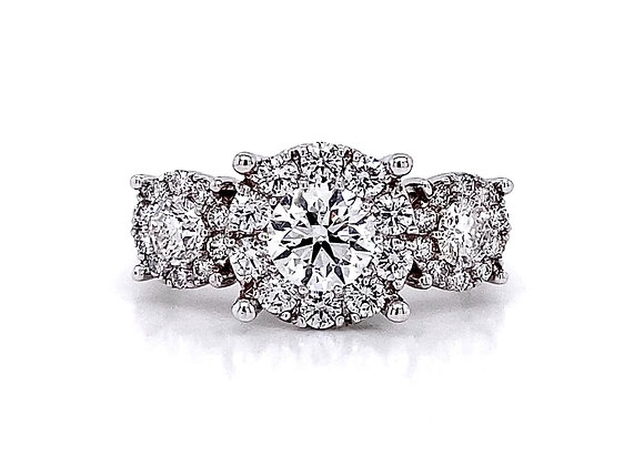 14kt White Gold 1.81ctw Round Diamond Halo Ring