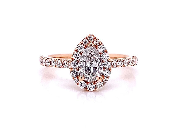 14kt Rose Gold 0.89ctw Pear Shape Diamond Halo Ring