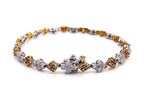 18kt Two-Tone 2.13ctw Fancy Yellow and Round Diamond Bracelet