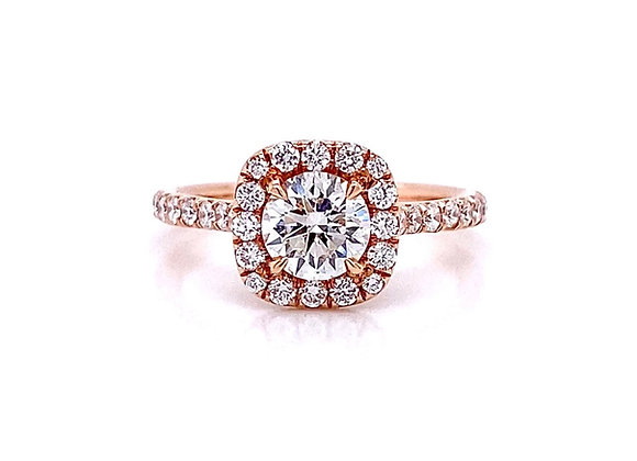 14kt Rose Gold 1.13ctw Round Diamond Halo Ring