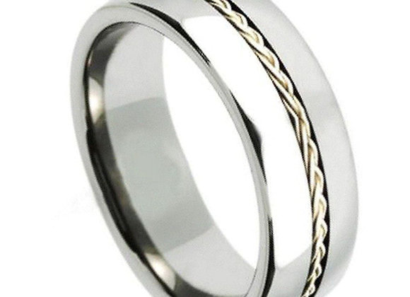 Gray Tungsten Braided Gents Band