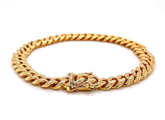 "14kt Yellow Gold 9"" 7.85mm Cuban Box Clasp Bracelet"
