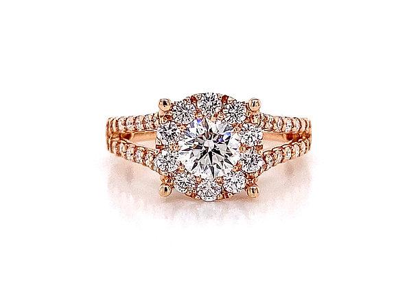 14kt Rose Gold 1.43ctw Round Diamond Halo Ring