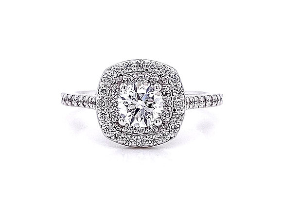 14kt White Gold 0.93ctw Round Diamond Double Halo Ring