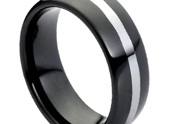 Black & Gray Tungsten Gents Band