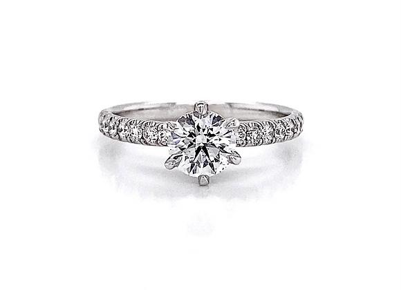 14kt White Gold 1ctw Round Diamond Side Stone Ring