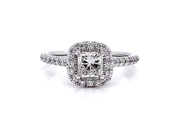 14kt White Gold 0.96ctw Radiant Cut & Round Diamond Halo Ring