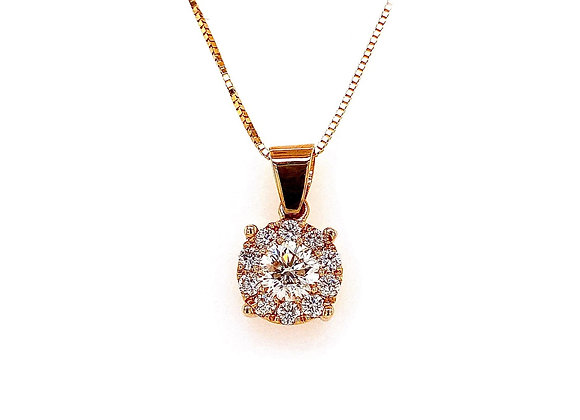 14kt Yellow Gold 1.09ctw Round Diamond Halo Pendant