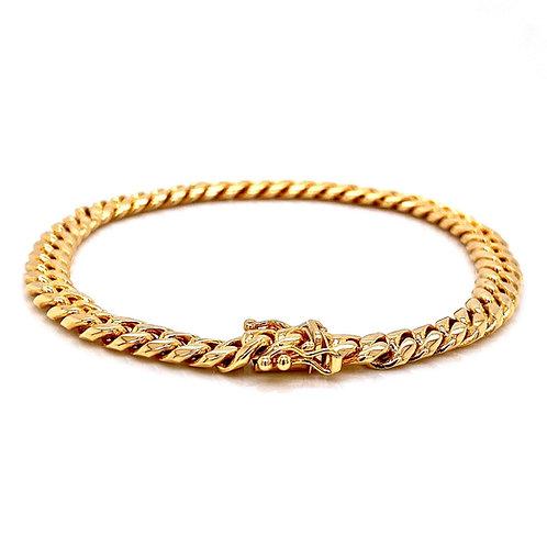 "14kt Yellow Gold 8.5"" 6.47mm Miami Cuban Box Clasp Bracelet"