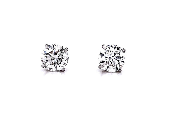 14kt White Gold 2.00ctw Round Diamond Stud Earrings