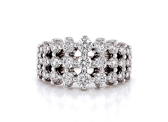 14kt White Gold 1.72ctw Round Diamond Wide Band