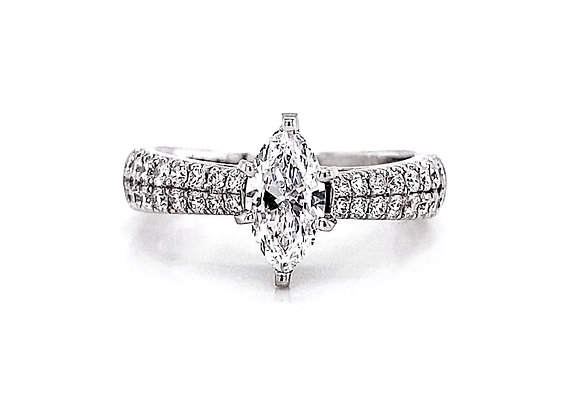 14kt White Gold 1.22ctw Marquise Cut & Round Diamond Side Stone Ring