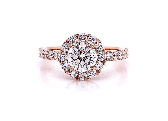 14kt Rose Gold 1.49ctw Round Diamond Halo Ring