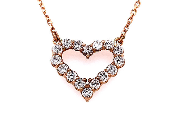 14kt Rose Gold 0.65ctw Round Diamond Heart Pendant