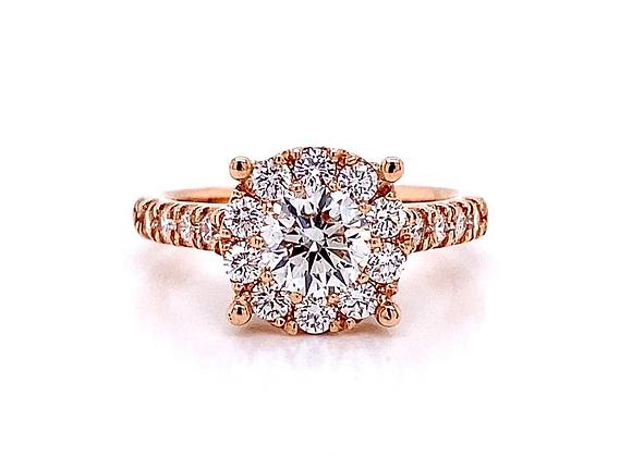 14kt Rose Gold 1.46ctw Round Diamond Halo Ring