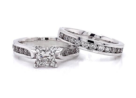 14kt White Gold 2.15ctw Princess Cut & Round Diamond Wedding Set