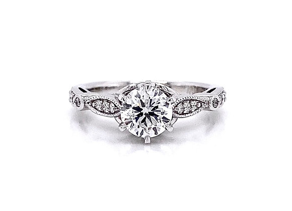 14kt White Gold 1.03ctw Round Diamond Side Stone Ring