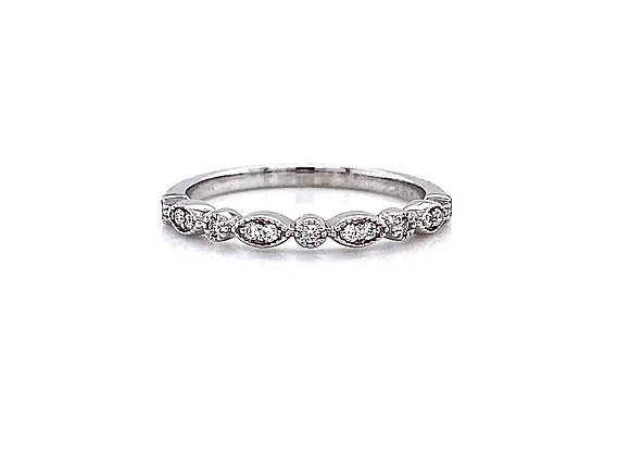 14kt White Gold 0.11ctw Round Diamond Band