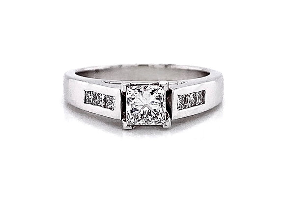 14kt White Gold 0.76ctw Princess Cut Diamond Channel Ring