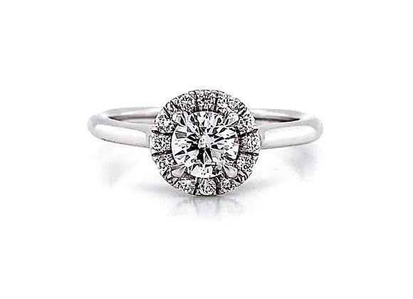 14kt White Gold 0.65ctw Round Diamond Halo Ring