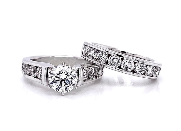 14kt White Gold 3.12ctw Round Diamond Wedding Set