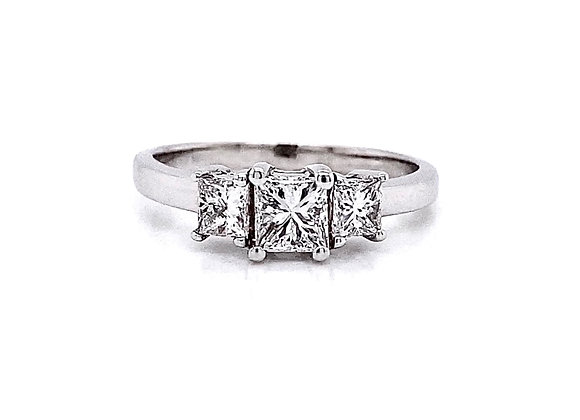 14kt White Gold 0.87ctw Princess Cut Diamond Ring